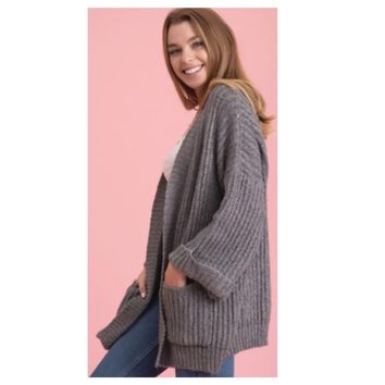Cozy Me! Oversized Chunky Knit Grey Chenille Sweater Cardigan