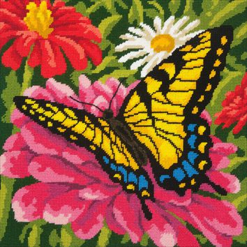"""Butterfly/Zinnias-Stitched In Wool/Yarn Dimensions Needlepoint Kit 14""""X14"""""""