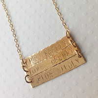 Triple gold bar necklace/ 3 bar/ personalized / hand stamped / gift / mom / name / dates / coordinates