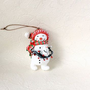 Snowman ornament Christmas Snowman Paper mache figurine Christmas tree Christmas Home decor