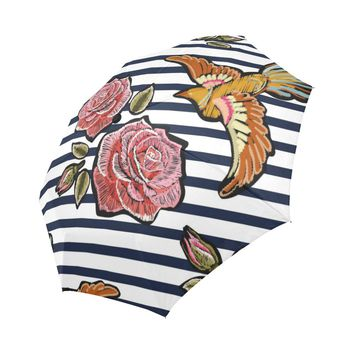 colorful floral pattern with pink roses Auto-Foldable Umbrella
