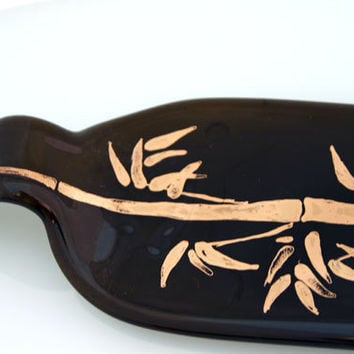 brown Recycled Wine Bottle Tray, golden bamboo motif.