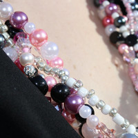 5 Strand Pink, Black, and White Beaded Necklace (3124)
