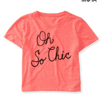 Aeropostale Womens Oh So Chic Crop Graphic T-Shirt - Orange,