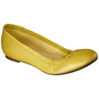 Women's Merona® Emma Genuine Leather Scrunch Flat - Yellow