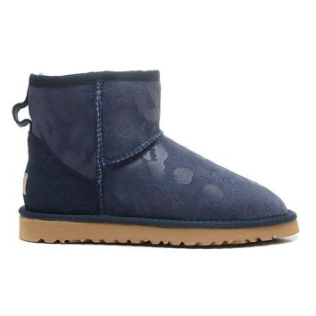 ESBON UGG 1006752 Leopard Women Fashion Casual Wool Winter Snow Boots Blue