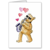 Blues bear greeting card