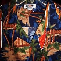 PACIFIC LEGEND HAWAIIAN SHIRTS VINTAGE  PALMS ,SURF COTTON !SIZE XL!MADE IN USA