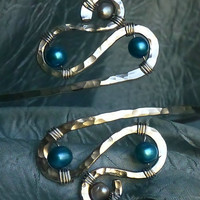 Armband, Upper Arm Cuff, Armlet - Silver and Teal or CUSTOM CREATED - Great for PROM