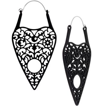 Black Spirit of Halloween Ouija Planchette Tunnel Plug Earrings