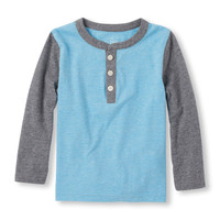 Toddler Boys Long Sleeve Heathered Henley | The Children's Place
