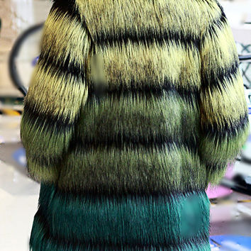 Green ombre faux Fur jacket