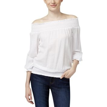 MICHAEL Michael Kors Womens Gauze Smocked Peasant Top