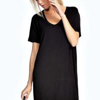 Mollie V Neck Roll Sleeve T-Shirt Dress