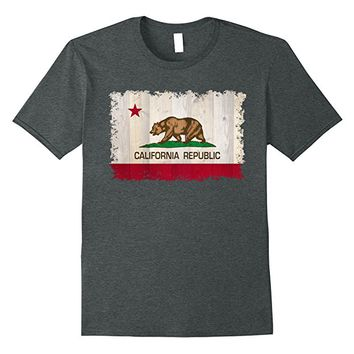 California Republic State flag on wood T-Shirt