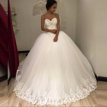Strapless Sexy 2016 New White Beaded Lace & Tulle Ball Gown Wedding Dress vestidos de noiva Bridal Gowns Wedding gowns for Bride