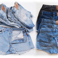 501 Levi Buttonfly LEVI'S Shorts Denim Cutoff Tattered Blue 501 Vintage Jean Shorts