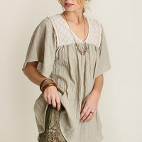 Lace Detail Baby Doll Top - Latte