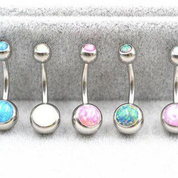 ac PEAPO2Q 10pcs Opal Stone Navel Belly Button Rings Sexy Woman Belly Piercing Barbell Surgical Steel Girls Fashion Body Jewelry  NEW