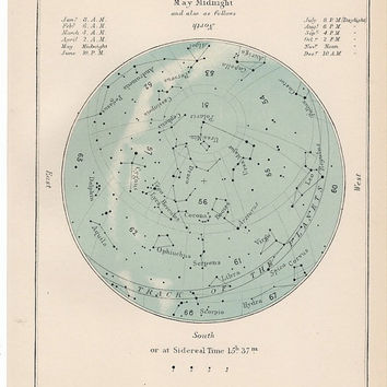 1910 may month rare celestial star map original antique astronomy print lithograph X gemini taurus