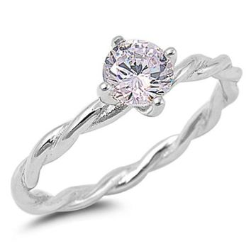 .925 Sterling Silver 1.2 Carat Solitaire Engagement Ring Size 4-10