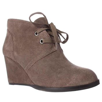 Lucky Brand Seleste Lace Up Wedge Booties, Brindle, 6.5 US