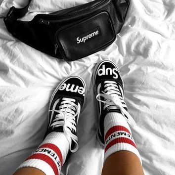 VANS X Supreme Old Skool Fashion Low Belted Canvas Shoes