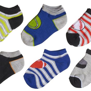 6-Pack Sports Balls & Stripes Printed Boys Socks