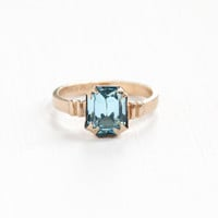 Vintage 10k Rosy Yellow Gold Filled Art Deco Simulated Aquamarine Ring - 1930s Size 4 Teal Aqua Blue Emerald Cut Rhinestone Jewelry
