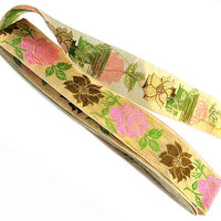 Vintage Sewing Trim 5.5 Yards Jacquard Gold Metallic with Pink Brown Green Franken Trimming 1960s New Old Stock Rayon Metallic Made in Japan