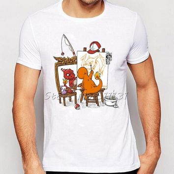Fashion Anime Norman Rockwell's triple self-portrait Funny  Print T-Shirt Summer Men Personality Charizard T Shirt TopsKawaii Pokemon go  AT_89_9