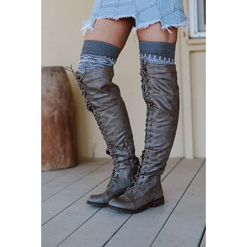 Belinda Lace Up Knee High Boots - Taupe