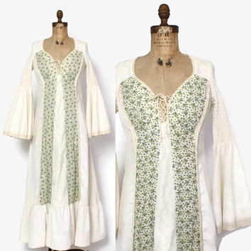 Vintage 70s Peasant DRESS / 1970s Ivory Cotton & Calico Floral Corset Lace-Up Trumpet Sleeve Maxi Dress