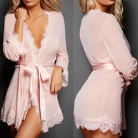 Lace Sheer Night Robe - Womens Sexy-Lingerie Nightwear Underwear G-string Babydoll Sleepwear Robe Dress
