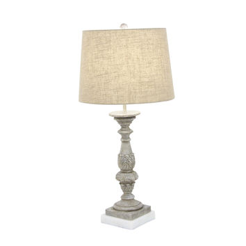 Elegantly Carved Polystone Marble Table Lamp