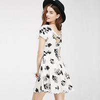 Fashion Casual cross-back floral roses printing Slim short-sleeved One-piece Women Dress