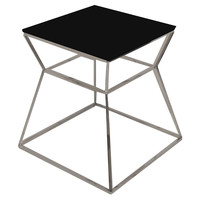 "Geo Glass 18"" Side Table, Black, Standard Side Tables"