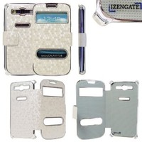 IZENGATE(TM) White Silver Luxury Synthetic Leather Magnetic Flip Case Cover Protector Skin for Samsung Galaxy S3 SIII:Amazon:Cell Phones & Accessories
