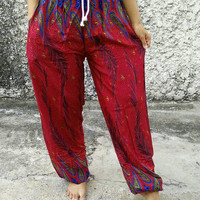 Paisley Print Trousers Yoga Pants Hippie Baggy Boho Fashion Style Clothing Rayon Gypsy Tribal Clothes For Beach Summer Fashion pattern Red