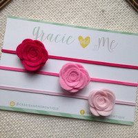 Set of Three Petite Wool Felt Roses on Skinny Elastic Headbands- Pink Ombre- by Gracie and Me