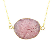 Pink Druzy Connector Necklace - Gold