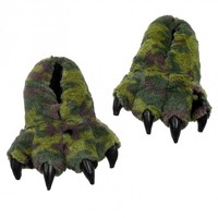 Wishpets Green Camo Dinosaur Claw Slippers