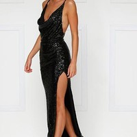 City Sparkler Black Sequin Spaghetti Strap Sleeveless Cowl Neck Backless Side Slit Maxi Dress Gown