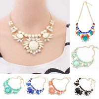 Fashion Jewelry Womens Crystal Chunky Statement Bib Pendant Chain Choker Necklace [8081687111]