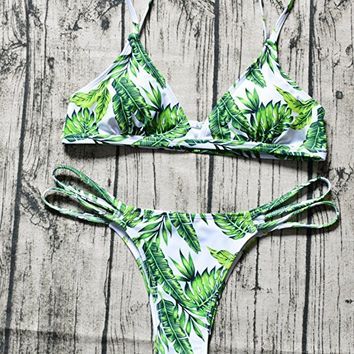 Yknktstc Womens Sexy Bikini Set Swimsuit V Neck Leaves Print Double Straps Swimwear