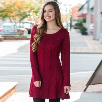 Autumn and winter long-sleeved knitted sweater dress