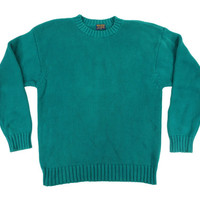 Vintage Brooks Brothers Crew Neck Sweater in Teal Green - Aqua Blue Crew Sailing Boat Boating Menswear Men's Size XL