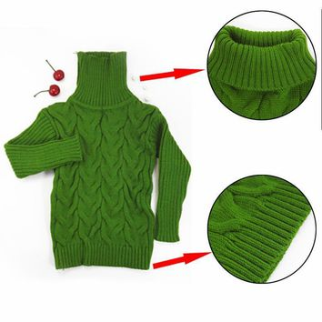 Soft Unisex Kids Cable Knit Turtleneck Sweater