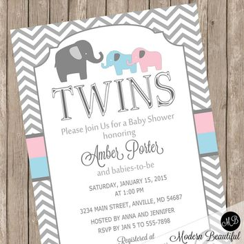 Twins Elephant Baby Shower Invitation, pink and blue elephants, chevron, Baby Shower Invite with Elephant Theme for Boy and Girl Twins etpb