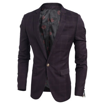 Men's Casual Slim Fit Buckle Blazer